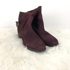 Naughty Monkey Maroon Suede Perforated Ankle Booti